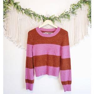 AMERICAN EAGLE Colorblock Striped Long Sleeve Crewneck Knit Sweater sz M